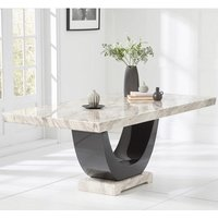 Allie Marble Large Dining Table Rectangular In Cream And Black