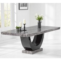 Aloya Marble Large Dining Table In Dark Grey And Black
