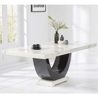 Aloya Marble Large Dining Table Rectangular In White And Black
