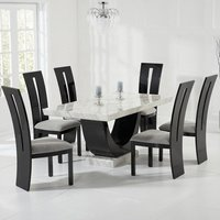 Aloya Marble Dining Table In Cream With 6 Ophelia Grey Chairs