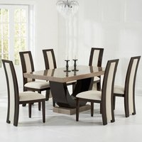 Aloya Modern Marble Dining Set In Brown With 4 Cream Chairs