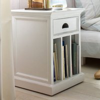 Product photograph showing Allthorp Bedside Table With Dividers In Classic White