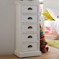 Product photograph showing Allthorp Chest Of Drawers In Classic White With 5 Drawers