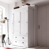 Product photograph showing Allthorp Double Door Wardrobe In Classic White With 2 Drawers