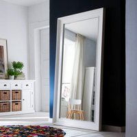 Product photograph showing Allthorp Grand Bedroom Mirror In Classic White