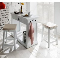 Product photograph showing Allthorp Wooden Kitchen Dining Set In Classic White