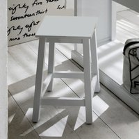 Product photograph showing Allthorp Wooden Kitchen Stool In Classic White