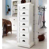 Product photograph showing Allthorp Tall Chest Of Drawers In Classic White With 7 Drawers