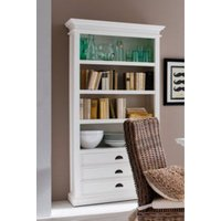 Product photograph showing Allthorp Wooden Bookcase In Classic White With 3 Drawers