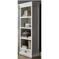 Product photograph showing Allthorp Wooden Bookcase With 1 Drawer In Classic White