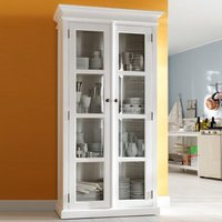 Product photograph showing Allthorp Wooden Double Door Display Cabinet In Classic White