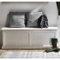 Product photograph showing Allthorp Wooden Hallway Storage Bench In Classic White