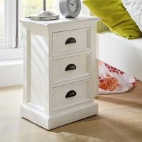 Allthorp Solid Wood Bedside Cabinet In White With 3 Drawers