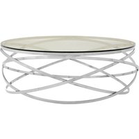Alluras Round Coffee Table With Silver Swirl Base