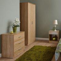 Product photograph showing Almandite Wooden 3pc Bedroom Furniture Set In Oak
