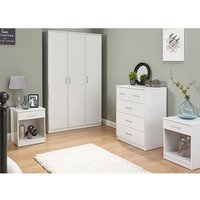 Almandite Wooden Bedroom Furniture Set In White