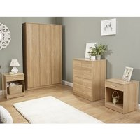 Almandite Wooden 4Pc Bedroom Furniture Set In Oak