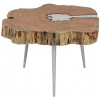 Product photograph showing Almory Wooden Coffee Table In Natural And Silver