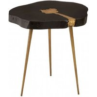 Product photograph showing Almory Wooden Side Table In Black And Gold