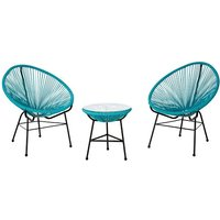Product photograph showing Alongan Rattan Effect Bistro Table And Chairs Set In Cyan Finish