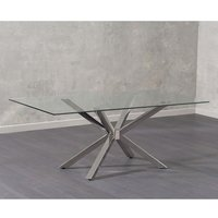 Alanten Glass Dining Table In Clear With Chrome Legs