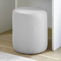 Product photograph showing Altair Faux Leather Pouffe In Matt White