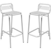 Product photograph showing Aluminium Silver Outdoor Bar Stool In In Pair