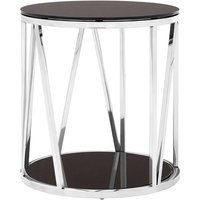 Product photograph showing Alvara Round Side Table In Chrome With Black Mirror Top