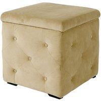 Alvaro Storage Box In Beige Velvet Style Fabric