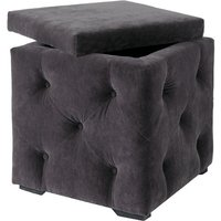 Product photograph showing Alvaro Storage Box In Charcoal Velvet Style Fabric