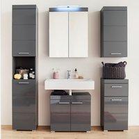 Amanda Bathroom LED Furniture Set In Grey High Gloss