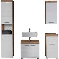 Amanda Bathroom LED Furniture Set In Knotty Oak And White