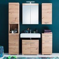 Amanda Bathroom LED Furniture Set In Knotty Oak