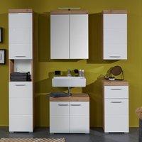 Amanda Bathroom LED Furniture Set In White And Knotty Oak