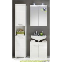Amanda Bathroom Vanity And LED Mirror With Storage In White