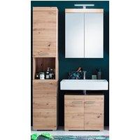 image-Amanda Bathroom Vanity And Storage With LED Mirror In Knotty Oak