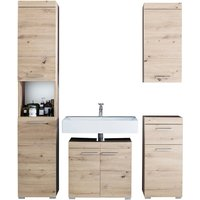Product photograph showing Amanda Bathroom Vanity With Wall And Floor Storage In Knotty Oak