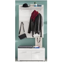 Product photograph showing Amanda Coat Rack And Shoe Bench In White High Gloss
