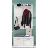 image-Amanda Coat Rack And Wide Shoe Bench In White High Gloss