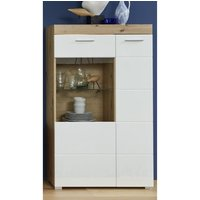 Product photograph showing Amanda Led Display Cabinet In White Hg And Knotty Oak