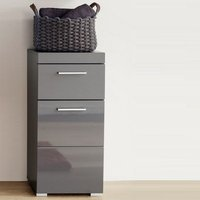 Product photograph showing Amanda Bathroom Storage Cabinet In Grey And High Gloss Fronts