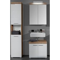 Amanda LED Mirror And Vanity With Storage In Knotty Oak White