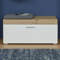 Product photograph showing Amanda Shoe Storage Bench In White High Gloss And Knotty Oak