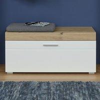 Amanda Shoe Storage Bench In White High Gloss And Knotty Oak