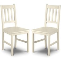 Product photograph showing Amandes Wooden Dining Chair In Stone White Lacquer In A Pair