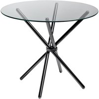 Product photograph showing Amata Round Glass Dining Table With Black Base