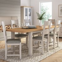 Amberly Extending Large Wooden Dining Set In Grey With 6 Cha