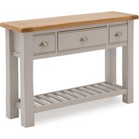 Product photograph showing Amberly Wooden Console Table In Grey With 3 Drawers