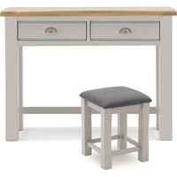Product photograph showing Amberly Wooden Dressing Table And Stool Set In Grey