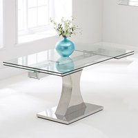 Product photograph showing Amberon Clear Glass Extending Dining Table With Chrome Base